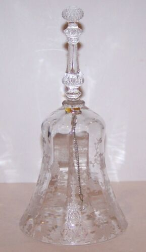 """BEAUTIFUL VINTAGE CAMBRIDGE CLEAR ETCHED ROSE POINT 7 3/8"""" BELL"""