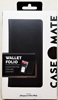 "Case-Mate Wallet Folio Black Leather Case for iPhone 11 Pro Max 6.5"" Authentic!"