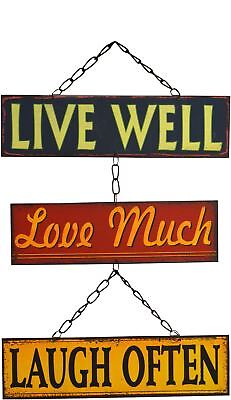 Retro Metal Wall Sign Hanging Plaque Live Well Laugh Much Love Often Vintage