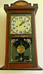 Vintage Eight Day Pendulum Chime Wall Clock w/ Key - WORKS