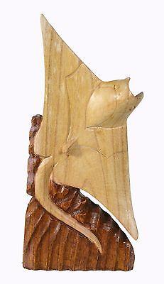 Hand Carved Mahogany Manta Ray Stingray Wood Sculpture Tropical Island Decor Sea