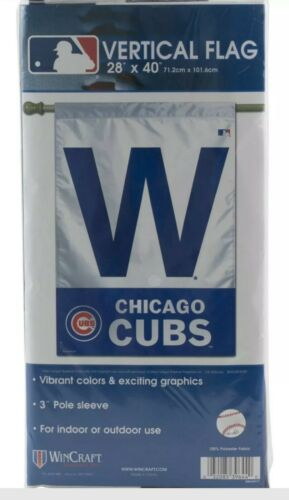 "Wincraft vertical  W flag banner cubs win  28""x40"" yard lawn"