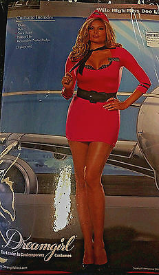 Flight attendant -  Plus Size -Adult Women - Pink and Black - Dreamgirl Costumes - Pink And Black Costumes