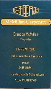 McMillan Carpentry Gilmore Tuggeranong Preview