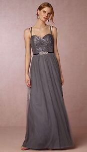 Beautiful Floor Length Grey Sequin and Tulle Dress