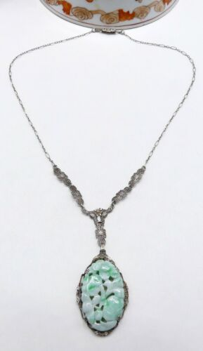 Antique Art Deco sterling silver filigree & Chinese carved jade pendant necklace