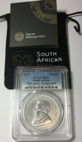 2017 PCG SP69 Silver Krugerrand  50th Ann.1 oz SP 69 ~ 1 RAND w/COA