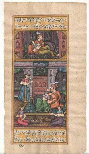 Indian+Miniature+Painting+Mughal+King+Harem+Erotic+Scene+Watercolor+Paper+Decor