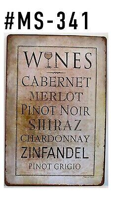 Tin Sign Alcohol Kinds Of Wine Metal Retro Signs Plaques Bar Kitchen Home Decor