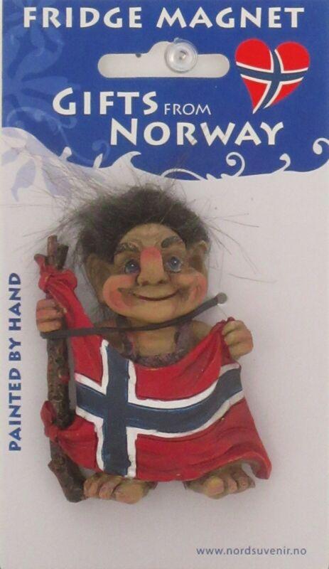 NEW SCANDINAVIAN RED PANTS TROLL HOLDING NORWEGIAN FLAG IN FRONT MAGNET NORWAY
