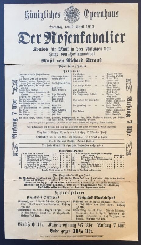Richard STRAUSS (Composer): Der Rosenkavalier - Original 1912 Broadside