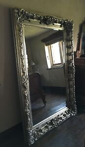 ANTIQUE SILVER ROCOCO ORNATE LARGE FRENCH OVERMANTLE WALL CHUNKY WOOD MIRROR 4FT