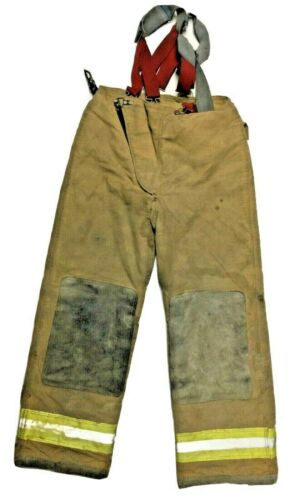 30x29 Globe Brown Firefighter Turnout Pants with Suspenders P1299