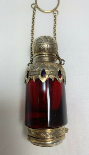Victorian Ruby Glass Chatelaine Vinaigrette Perfume Scent Bottle Silver 1850