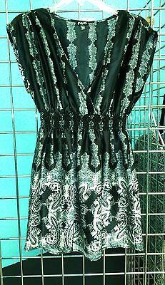 Lily White Junior's M Sheath Dress Tunic Black White Stretch Waist (Lily Kimono Sleeve Dress)