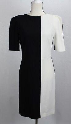 NEW Osman Women's Dress 8 Black White Colorblock Straight Sheath Open Sleeve