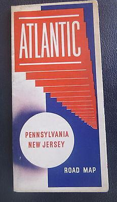 1941 Pennsylvania New Jersey road map Atlantic  oil gas
