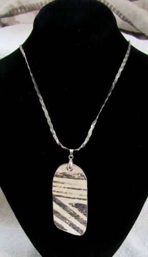 Ancient Anasazi Indian Pottery Shard Pendant & Sterling Silver Necklace Chain