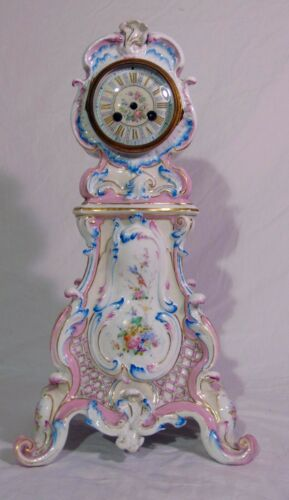 Antique 19th C French Sevres Porcelain Vion & Baury Scrolled Mantle Clock