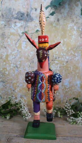 Deer Dancer Folkloric Handmade Hand Painted Wood Figure Guatemala Folk Art