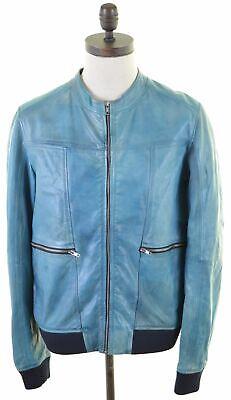 HUGO BOSS Mens Leather Bomber Jacket Size 42 XL Turquoise Leather Slim Fit  EN02