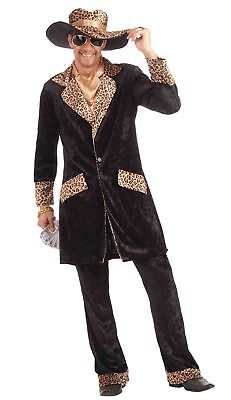 Big Cat Pimp Men's Adult Black Velvet Coat Hat Pants Halloween Costume, Std. 42