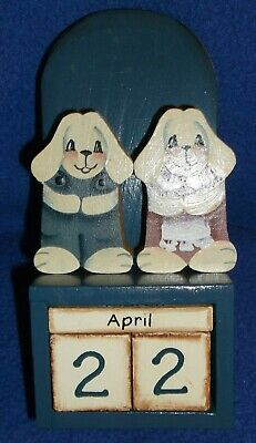 Wood Prepetual Calendar Desk Display Teacher Country Rustic Wall Hang Bunnies