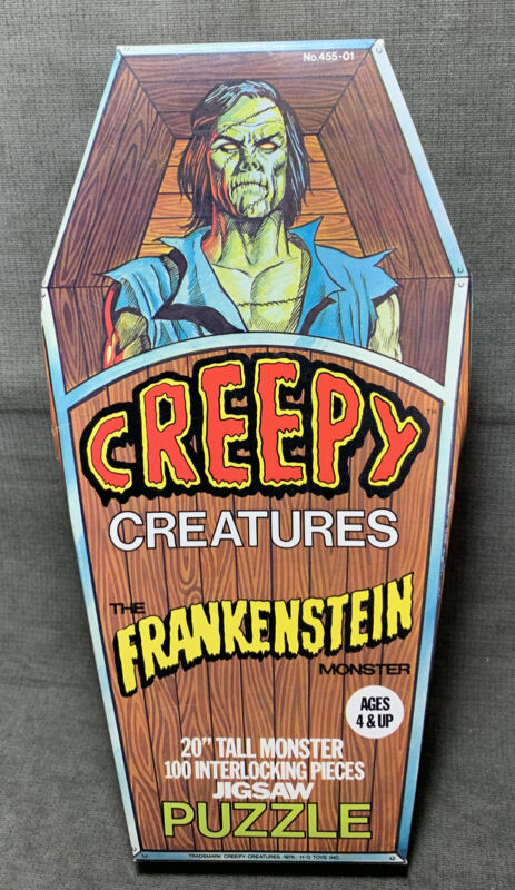 Vintage Creepy Creatures Frankenstein Puzzle Complete Coffin Box 1975 H G Toy