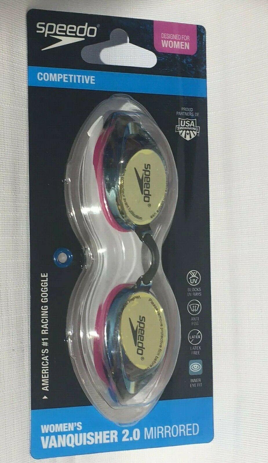 Speedo Women's Vanquisher 2.0 Mirrored Anti-Fog Swim Goggles