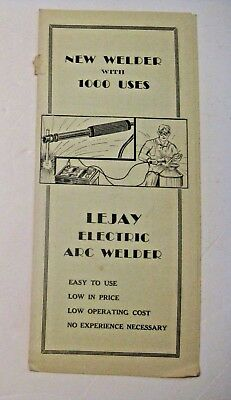 Vintage Lejay Electric Arc Welder Advertising Manual Minneapolis Chicago