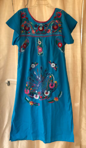 Blue Puebla Mexican DRESS Hand Embroidered Huipil Women