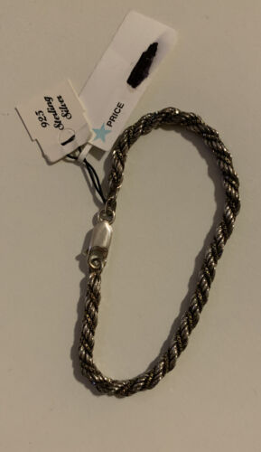 Italian 925 Sterling Silver NWT 7 Twisted Rope Bracelet Lobster Claw - $25.95