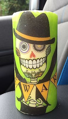 3ea727936fb DAY OF THE DEAD SUGAR SKULL BEWARE HAND DECORATED PILLAR CANDLE 50hrs 15x6cm