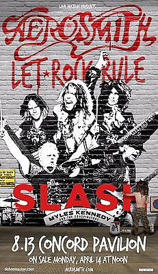 "AEROSMITH / SLASH ""LET ROCK RULE TOUR"" 2015 CONCORD, CALIFORNIA CONCERT POSTER"