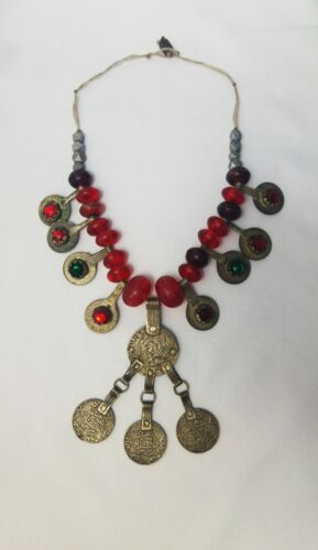 1320 Vintage Unique handmade Berber Tuareg Red Silver & Amber jewelery Necklace