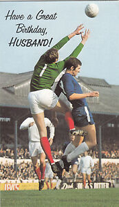 Happy Birthday Husband 1960's Vintage Chelsea FC Peter Osgood Greeting Card