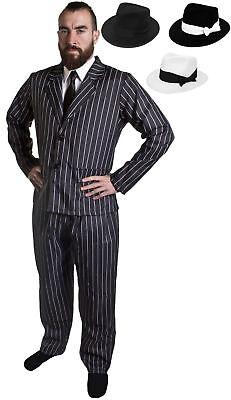 NADELSTREIFEN HOSENANZUG GANGSTER VERKLEIDUNG UNISEX GOMEZ KOSTÜM FASCHING - Gomez Kostüme