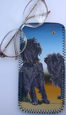 AFFENPINSCHER DOG GLASSES CASE/POUCH NEOPRENE WATERCOLOUR PRINT SANDRA COEN ART