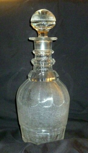 Antique English Georgian Panel Cut Barrel Shape Glass Decanter 11 1/4""
