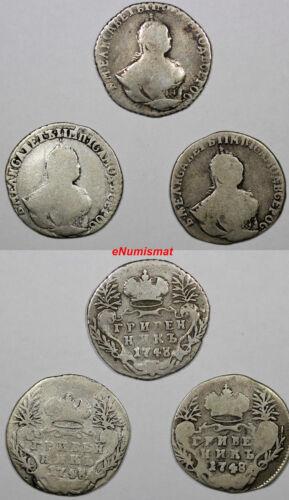 RUSSIA ELIZABETH Silver LOT OF 3 COINS 1748 10 Kopeks,Grivennik  C# 16a
