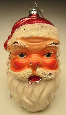 "West Germany Christmas Ornament Santa Head Blown Glass 4 ½"" tall made 1960's Glass Santa Head Ornament"