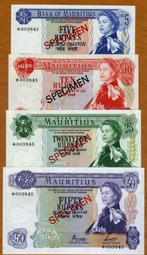 Specimen Set, Mauritius, 5;10;25;50 Rupees, ND (1978),  P-CS1, With C/O UNC