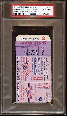 1953 World Series Ticket Stub Brooklyn at New York Yankees Game 6 PSA Authentic (1953 World Series Game)