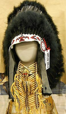 "Native American Navajo War Bonnet Headdress 36"" BLACK LEGEND TRADITIONAL Black"