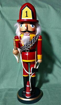 """Firemen Wooden Nutcracker Christmas Figurine 14.5"""" Height"""