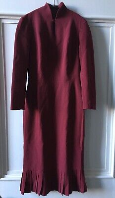 Rare Vintage 1990s JOHN GALLIANO Raspberry 1940s Style Fitted Dress.