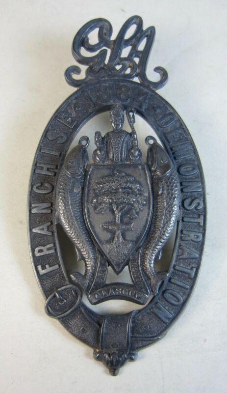 RARE Sterling 1884 Glasgow Scotland Franchise Demonstration Suffrage Pin Badge