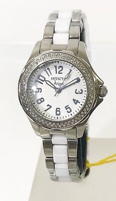 New Invicta 1779 Women Angel Genuine Diamond Stainless White Ceramic Swiss Watch