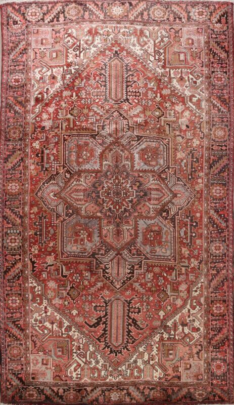 Vintage Geometric Traditional Area Rug Wool Hand-Knotted Oriental Carpet 10x13