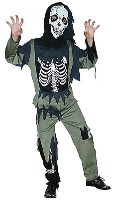 Boys Girls Childs Kids Zombie Horror Skeleton Halloween Fancy Dress Costume 4-9 (Girls Zombie Halloween Costumes)